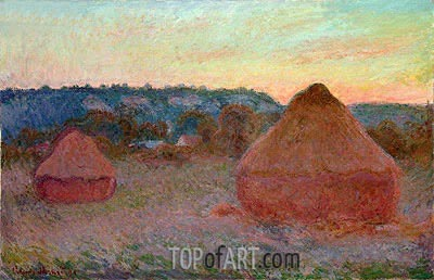 Stacks of Wheat (End of Day, Autumn), 1891 | Monet | Painting Reproduction