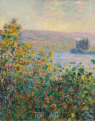 Flower Beds at Vetheuil, 1881 | Monet | Painting Reproduction