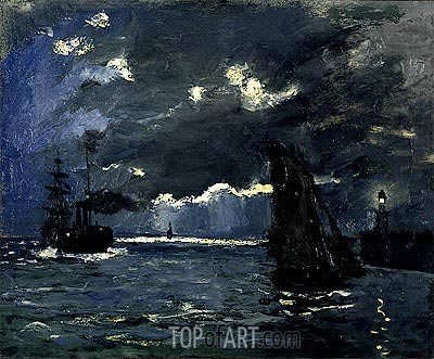 A Seascape, Shipping by Moonlight, c.1864   Monet   Painting Reproduction
