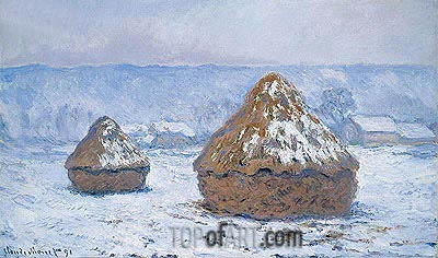 Haystacks, Snow Effect, 1891 | Monet | Painting Reproduction