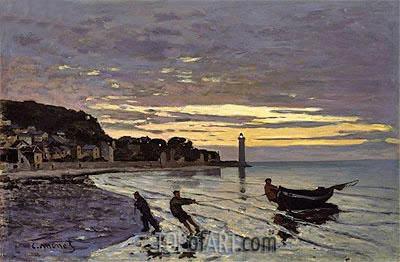 Towing a Boat, Honfleur, 1864 | Monet | Painting Reproduction