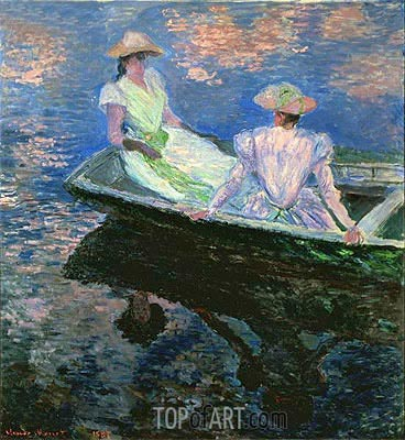 On the Boat, 1887   Monet   Painting Reproduction