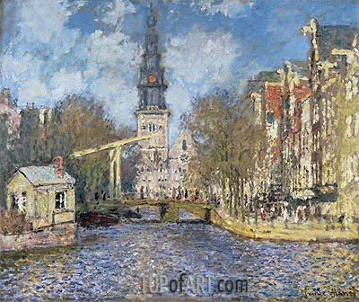 The Zuiderkerk, Amsterdam (Looking up the Groenburgwal), c 1874 by Monet