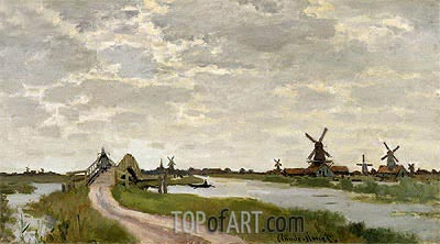 Windmills Near Zaandam, 1871 | Monet | Gemälde Reproduktion