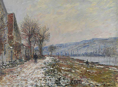 The Riverbank at Lavacourt, Snow, 1879 | Monet | Painting Reproduction