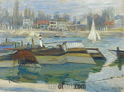 Barges at Asnieres, 1873   Monet   Painting Reproduction