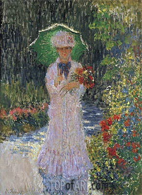Camille Monet with Green Umbrella, 1876 | Monet | Painting Reproduction
