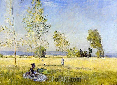 Meadow at Bezons, 1874 | Monet | Painting Reproduction