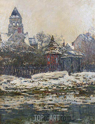 The Church at Vetheuil, Winter, 1879 | Monet | Painting Reproduction