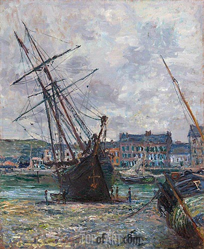 Boats Lying at Low Tide at Fecamp, 1881 | Monet | Painting Reproduction