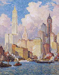 Hudson River Waterfront, New York City, a.1913 by Colin Campbell Cooper | Painting Reproduction