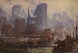 The Wall Street Ferry Slip (The Ferries, New York), 1904 by Colin Campbell Cooper | Painting Reproduction