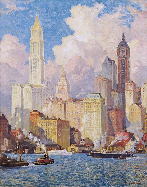 Hudson River Waterfront, New York City, a.1913   Colin Campbell Cooper   Painting Reproduction