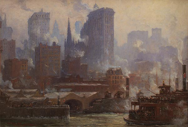 The Wall Street Ferry Slip (The Ferries, New York), 1904   Colin Campbell Cooper   Painting Reproduction
