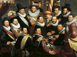 Banquet of the Officers and Subalterns of the Calivermens Civic Guard, 1599 by Cornelis Cornelisz. van Haarlem | Painting Reproduction