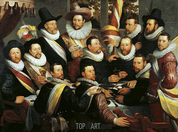 Banquet of the Officers and Subalterns of the Calivermens Civic Guard, 1599 | Cornelis Cornelisz. van Haarlem | Painting Reproduction