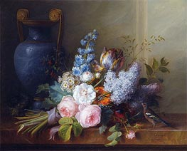 Flower Bunch with a Bird Nest, 1810 by Cornelis van Spaendonck | Painting Reproduction