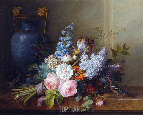 Flower Bunch with a Bird Nest, 1810 | Cornelis van Spaendonck | Painting Reproduction