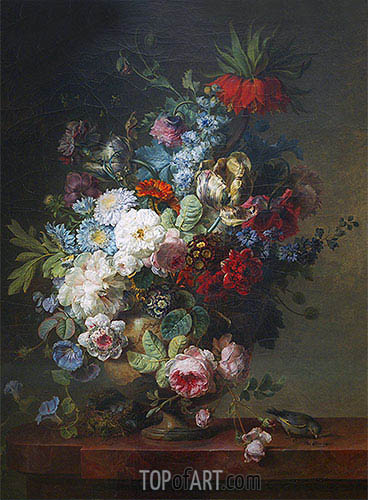 Vase of Flowers on a Stone Table with a Nest and a Greenfinch, 1789 | Cornelis van Spaendonck | Gemälde Reproduktion