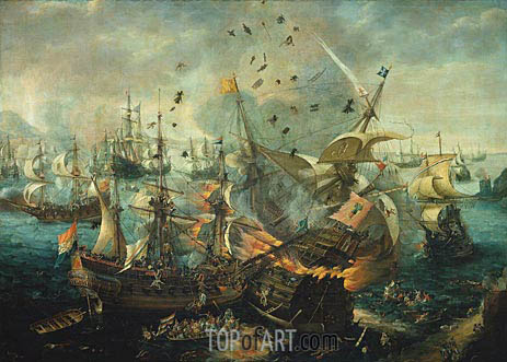 The Explosion of the Spanish Flagship during the Battle of Gibraltar, 25 april 1607, c.1621 | van Wieringen | Painting Reproduction