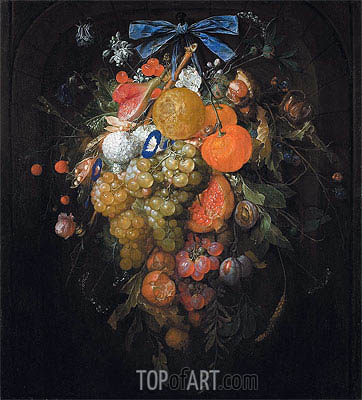 Festoon with Fruits and Flowers , Undated | Cornelis de Heem | Painting Reproduction