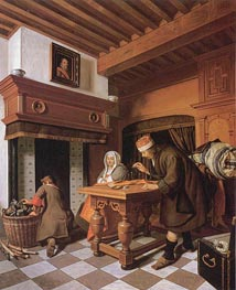 The Gold Weigher, c.1670/75 by Cornelis de Man | Painting Reproduction