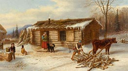 Habitant Homestead in Winter, c.1860 von Cornelius Krieghoff | Gemälde-Reproduktion