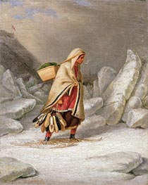 An Indian Woman Wearing Snowshoes, Undated von Cornelius Krieghoff | Gemälde-Reproduktion