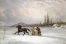 Habitants Sleighing, c.1855 by Cornelius Krieghoff | Painting Reproduction