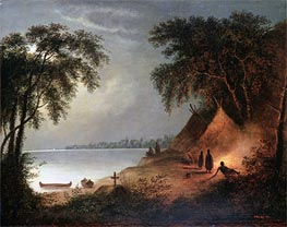 Indian Burial, Undated by Cornelius Krieghoff | Painting Reproduction