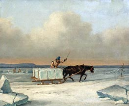The Ice Cutters on the St. Lawrence at Longueuil, 1850 von Cornelius Krieghoff | Gemälde-Reproduktion