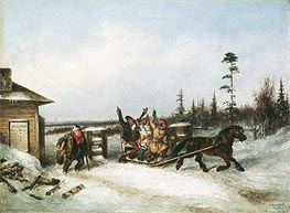 Running the Toll Gate, 1857 by Cornelius Krieghoff | Painting Reproduction