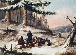 Moose Hunters, Undated by Cornelius Krieghoff | Painting Reproduction