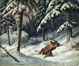 Cerf Mort, Undated by Cornelius Krieghoff | Painting Reproduction