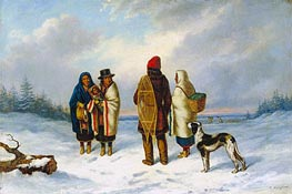 Indians in a Snowy Landscape, c.1847/48 by Cornelius Krieghoff | Painting Reproduction