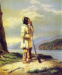 Calling Moose, 'Huron' Indian, c.1868 by Cornelius Krieghoff | Painting Reproduction