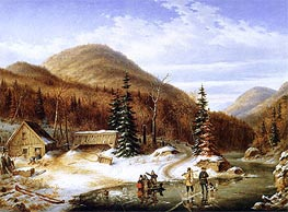 Winter Scene in the Laurentians - The Laval River | Cornelius Krieghoff | Painting Reproduction