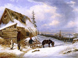Log Cabin, Winter Scene, Lake St. Charles | Cornelius Krieghoff | Painting Reproduction