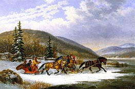 Sleigh Race across the Ice | Cornelius Krieghoff | Painting Reproduction