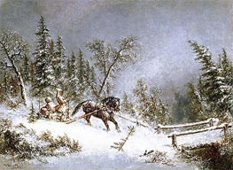 Winter Scene, Blizzard | Cornelius Krieghoff | Painting Reproduction