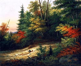 Shooting the Rapids | Cornelius Krieghoff | Painting Reproduction