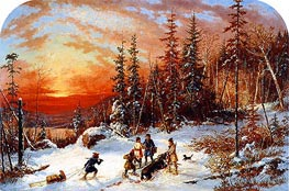 Death of the Moose at Sunset, Lake Famine South of Quebec | Cornelius Krieghoff | Gemälde Reproduktion