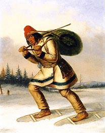 Indian Trapper on Snowshoes, c.1849 by Cornelius Krieghoff | Painting Reproduction