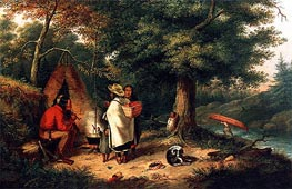 Caughnawaga Indian Encampment at a Portage, c.1844 by Cornelius Krieghoff | Painting Reproduction
