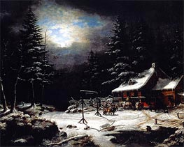 White Horse Inn by Moonlight, 1851 by Cornelius Krieghoff | Painting Reproduction