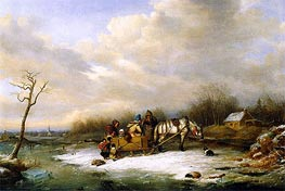 Habitant Family with Horse and Sleigh, 1850 by Cornelius Krieghoff | Painting Reproduction