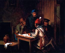 A Game of Cards, 1848 by Cornelius Krieghoff | Painting Reproduction