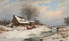 Visitors in Winter, 1854 by Cornelius Krieghoff | Painting Reproduction