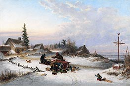 A Hazard of the Road, 1857 by Cornelius Krieghoff | Painting Reproduction