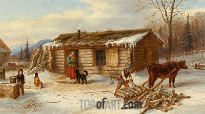 Habitant Homestead in Winter, c.1860 | Cornelius Krieghoff | Painting Reproduction